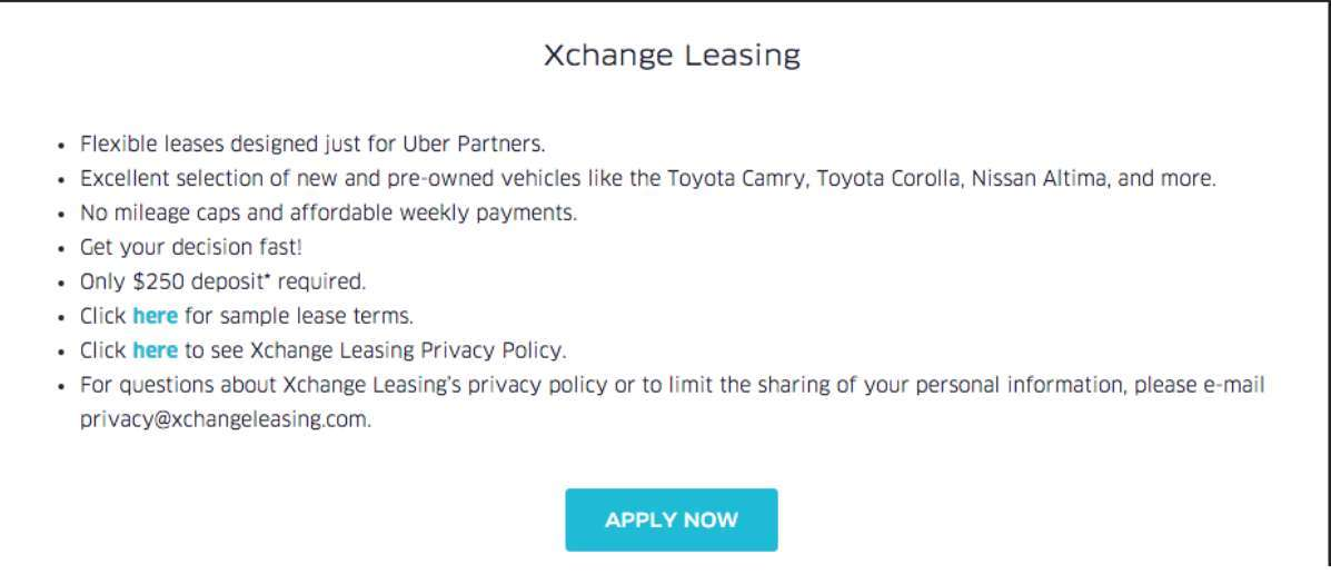 Uber Xchange Leasing Program A Game Changer
