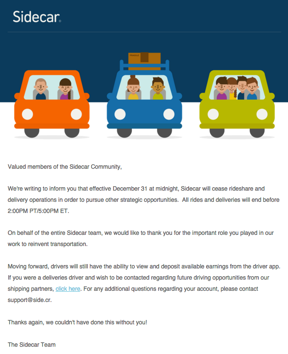 The e-mail sidecar sent to its drivers about going out of business