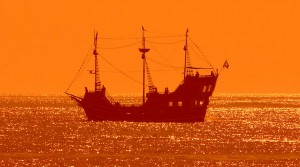 a pirate ship on the water