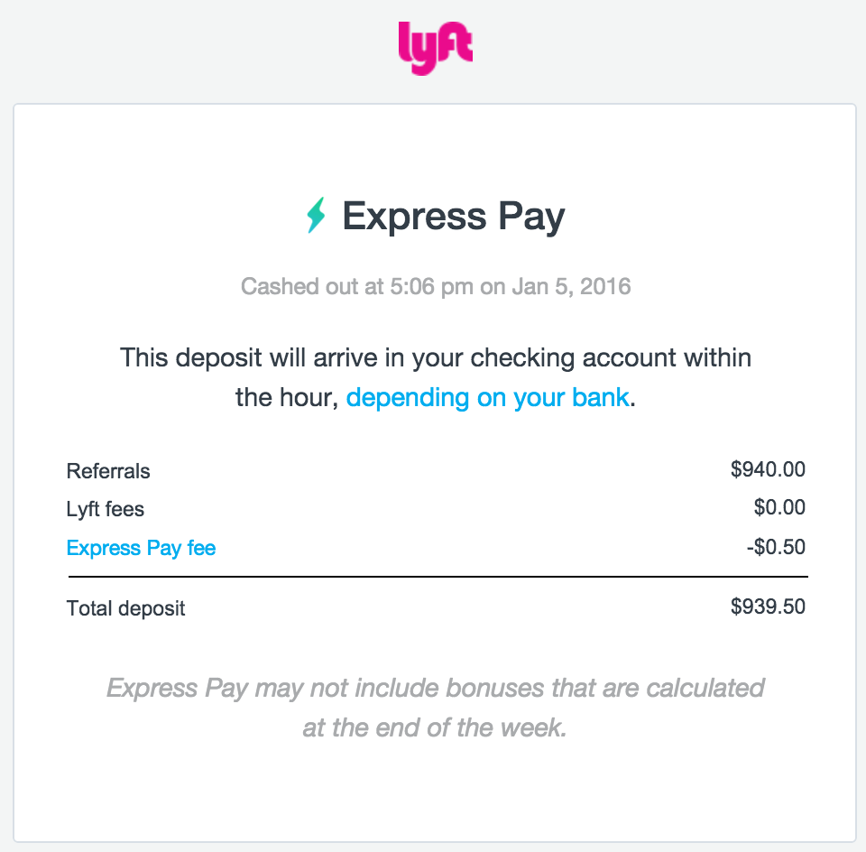 Lyft Express Pay Email Confirmation