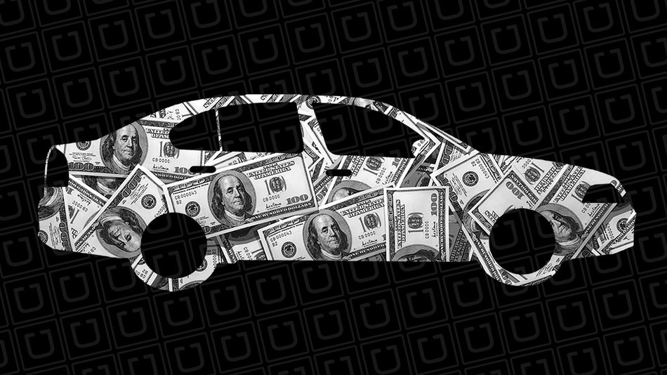 Uber car wrapped in money