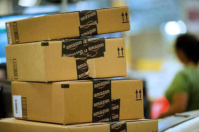 Amazon Packages Waiting to be Sorted and Delivered