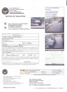 Copy of my Civil Notice of Violation which I received for allegedly passing a stopped school bus