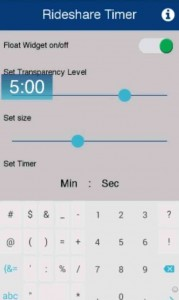 Rideshare Timer app's settings screenshot