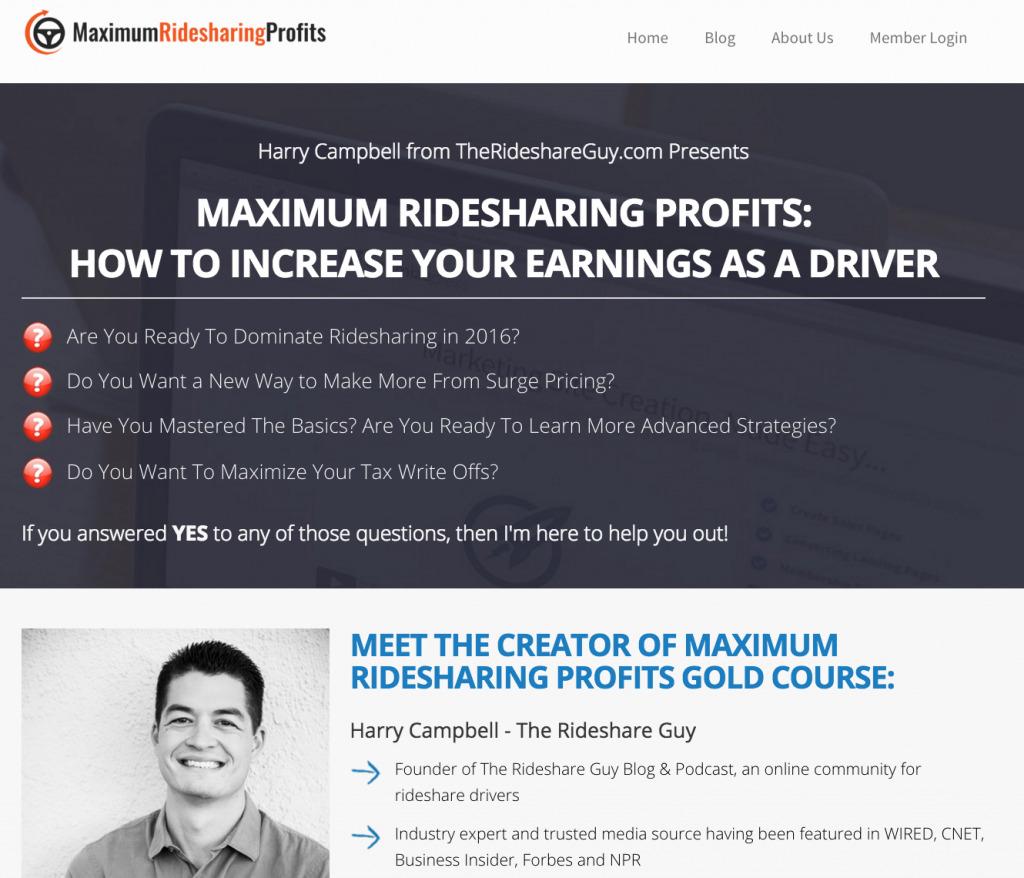 Maximum Ridesharing Profits Video Training Course