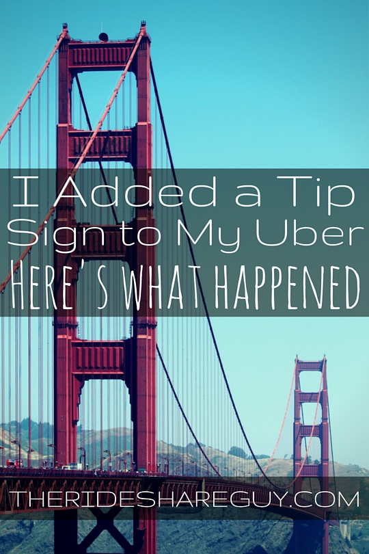 Adding a tip sign and tip jar to your uber driver car
