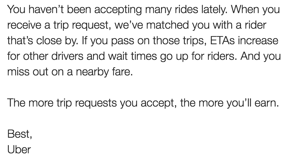 Nastygram e-mail from Uber