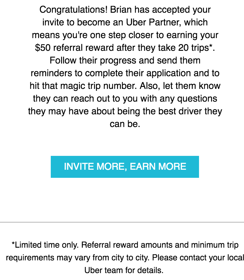 Uber Driver Referral Confirmation E-mail