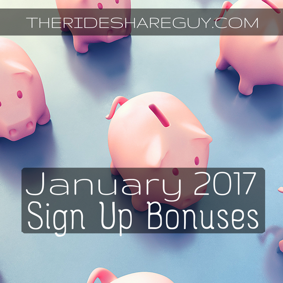 January sign up bonuses are here! See what Uber, Lyft, DoorDash and more are offering for January 2017, and sign up with our links here.