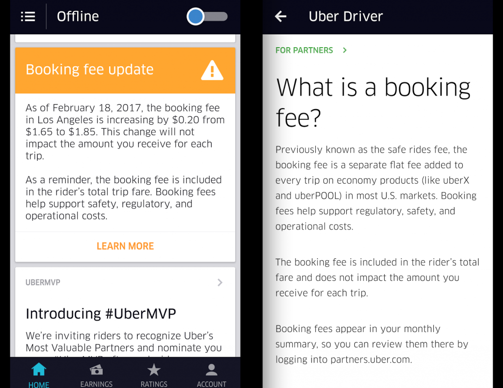 Uber Increases Booking Fee And Effective Commission