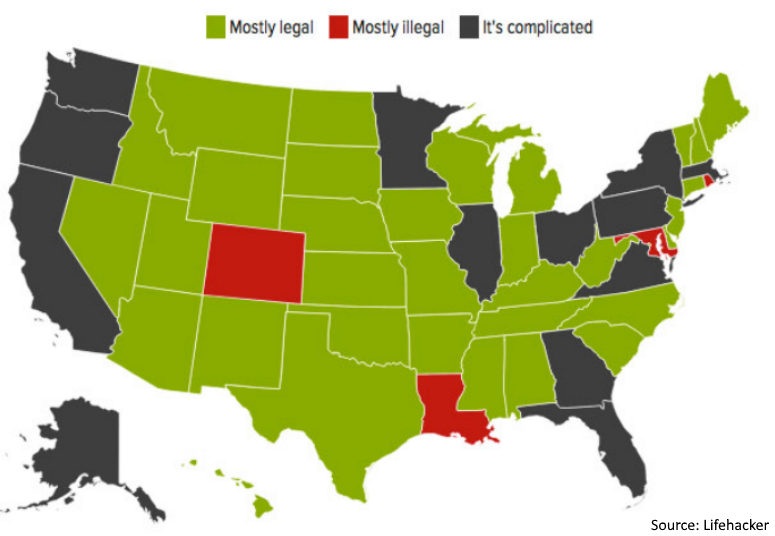 Headphone laws by state - map