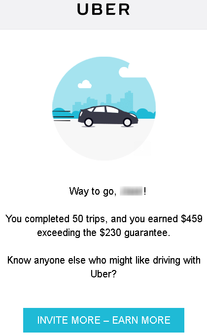 "Screenshot of Uber email. Text reads: ""Way to go! You completed 50 trips, and earned $459 exceeding the $230 guarantee."""