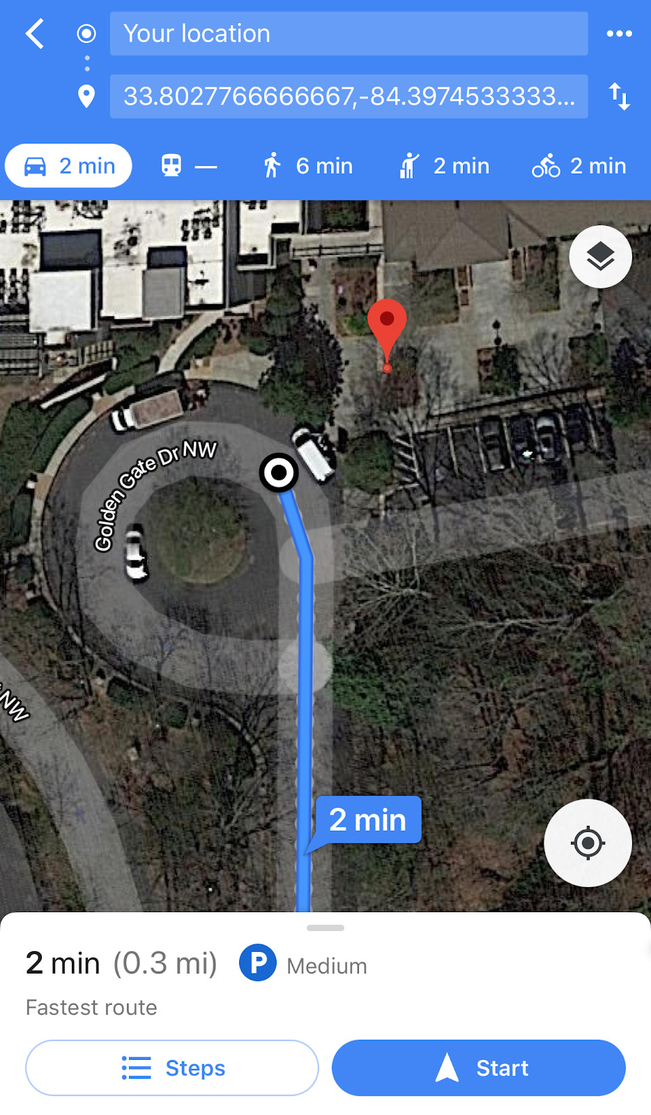 Image of Google Maps satellite view of Bird scooter location