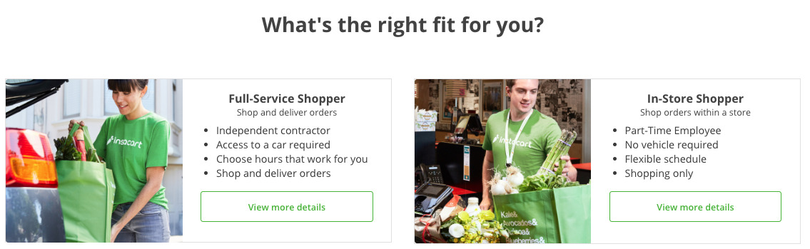 image of instacart delivery options