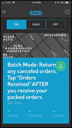 image of Batch mode while driving for eaze