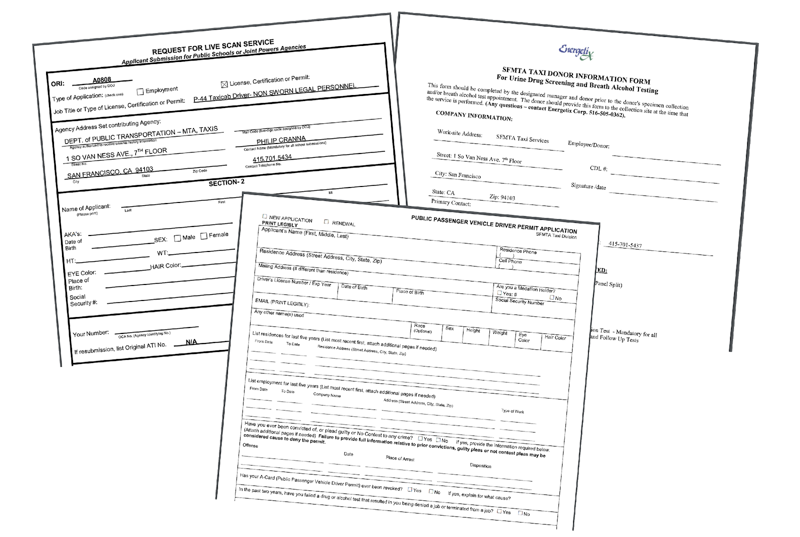 image of Taxi driver forms