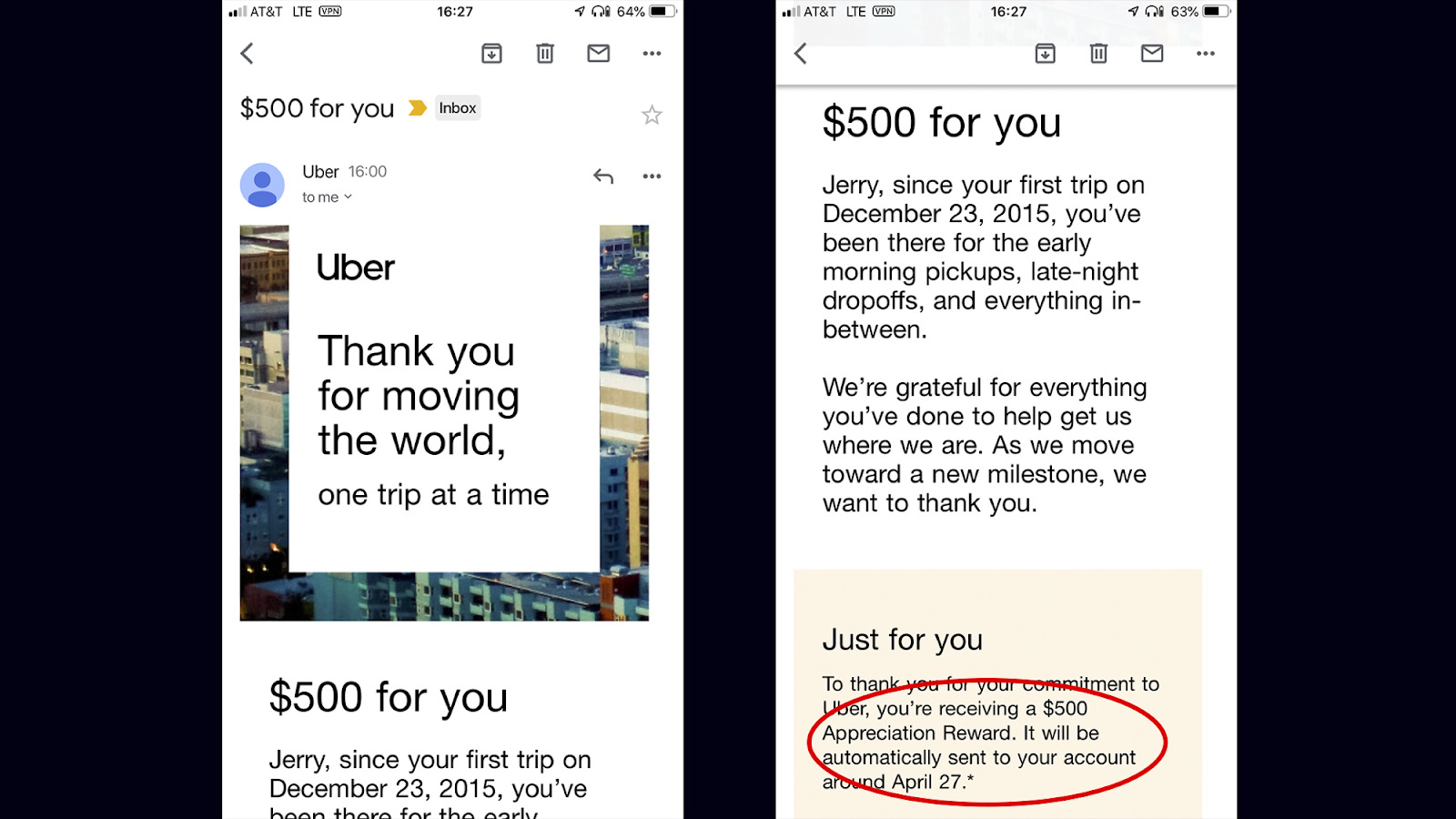 image of Uber IPO driver notification