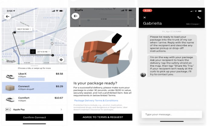 uber connect delivery request
