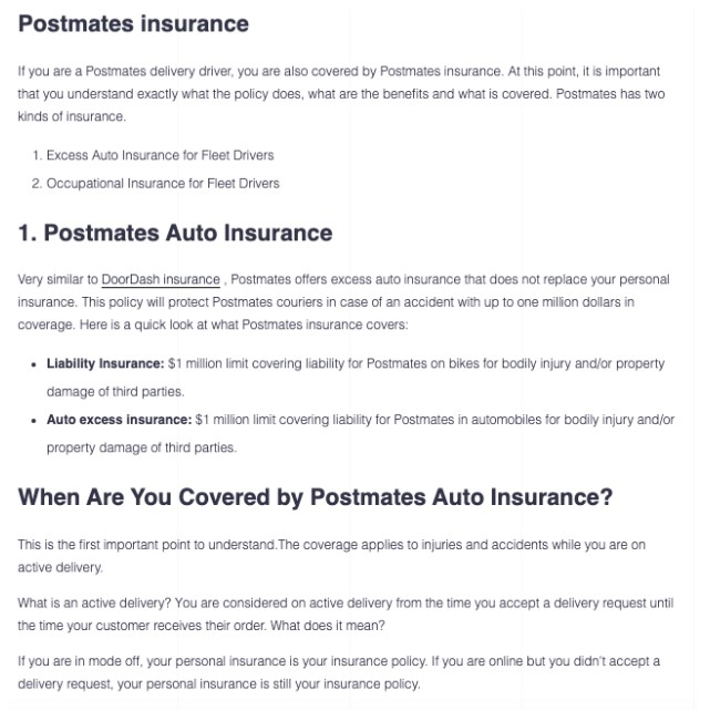postmates delivery insurance