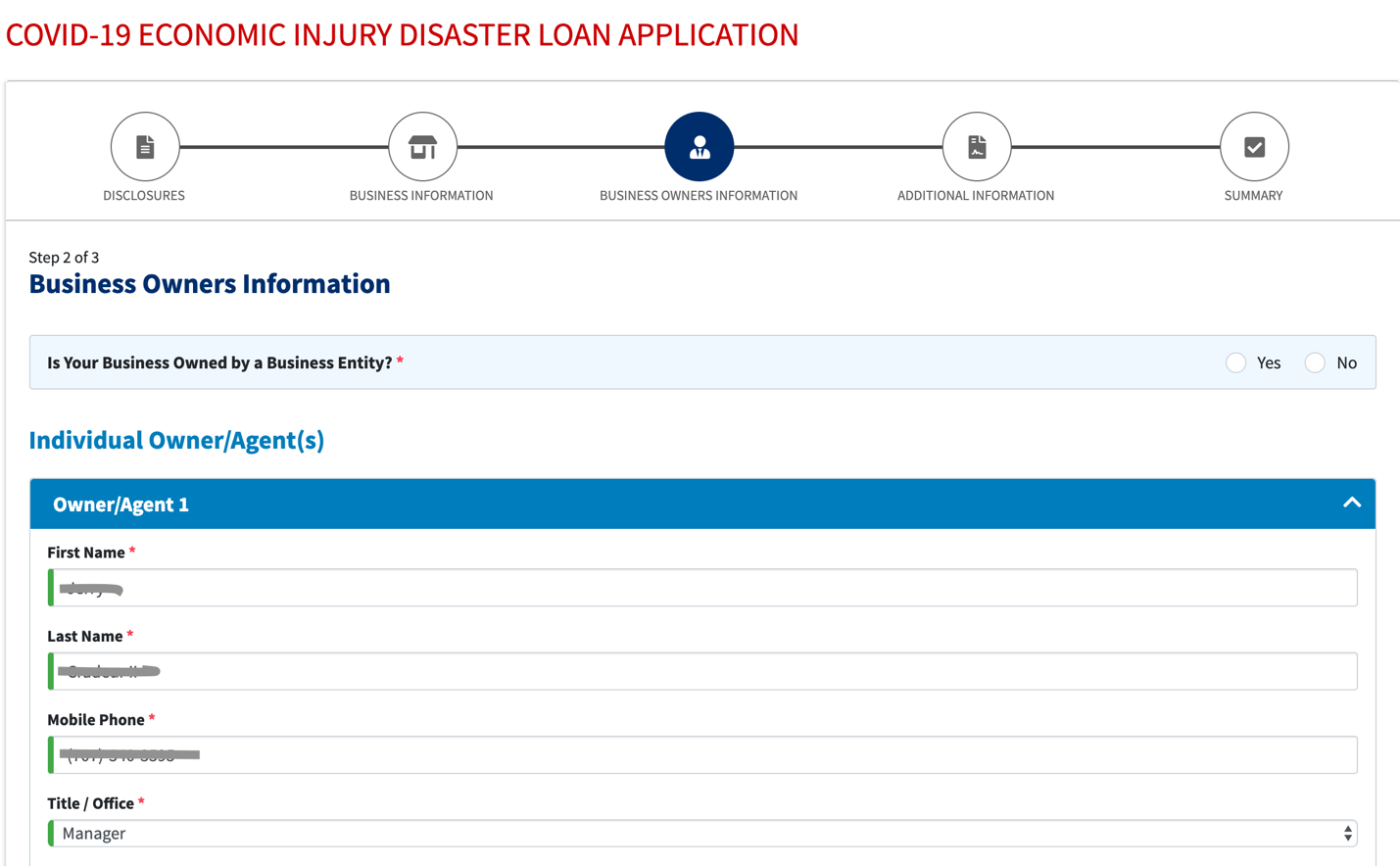 applying for the Economic Injury Disaster Loan program
