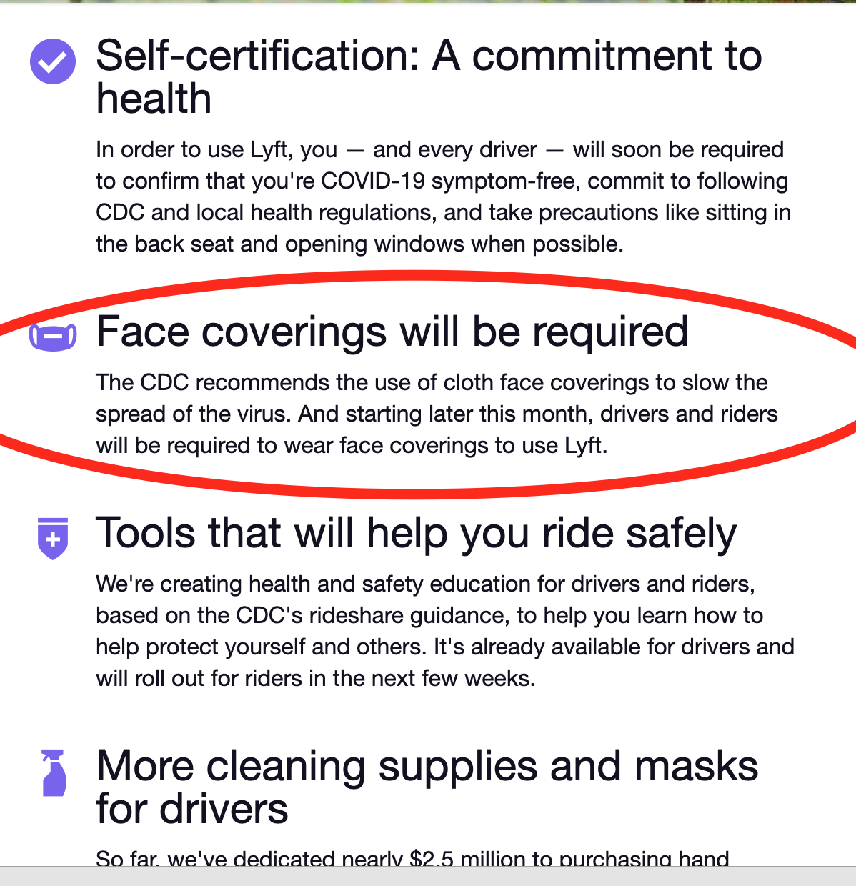 lyft requires masks for drivers