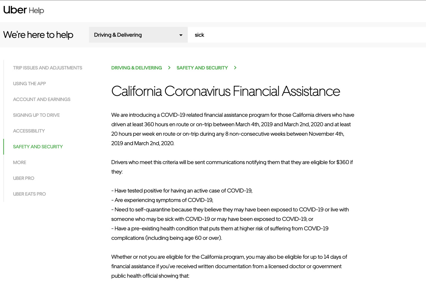 uber's coronavirus sick pay statement