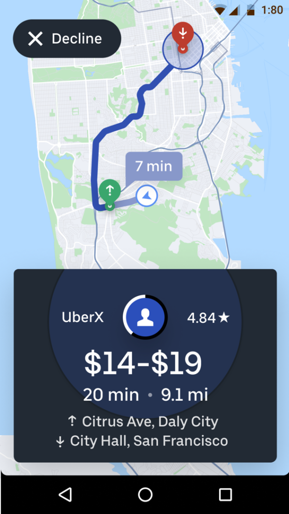 Example of the 'see destination' feature rolled out to California drivers