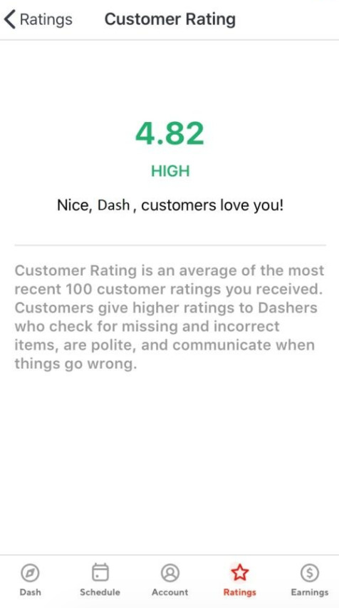 doordash driver ratings