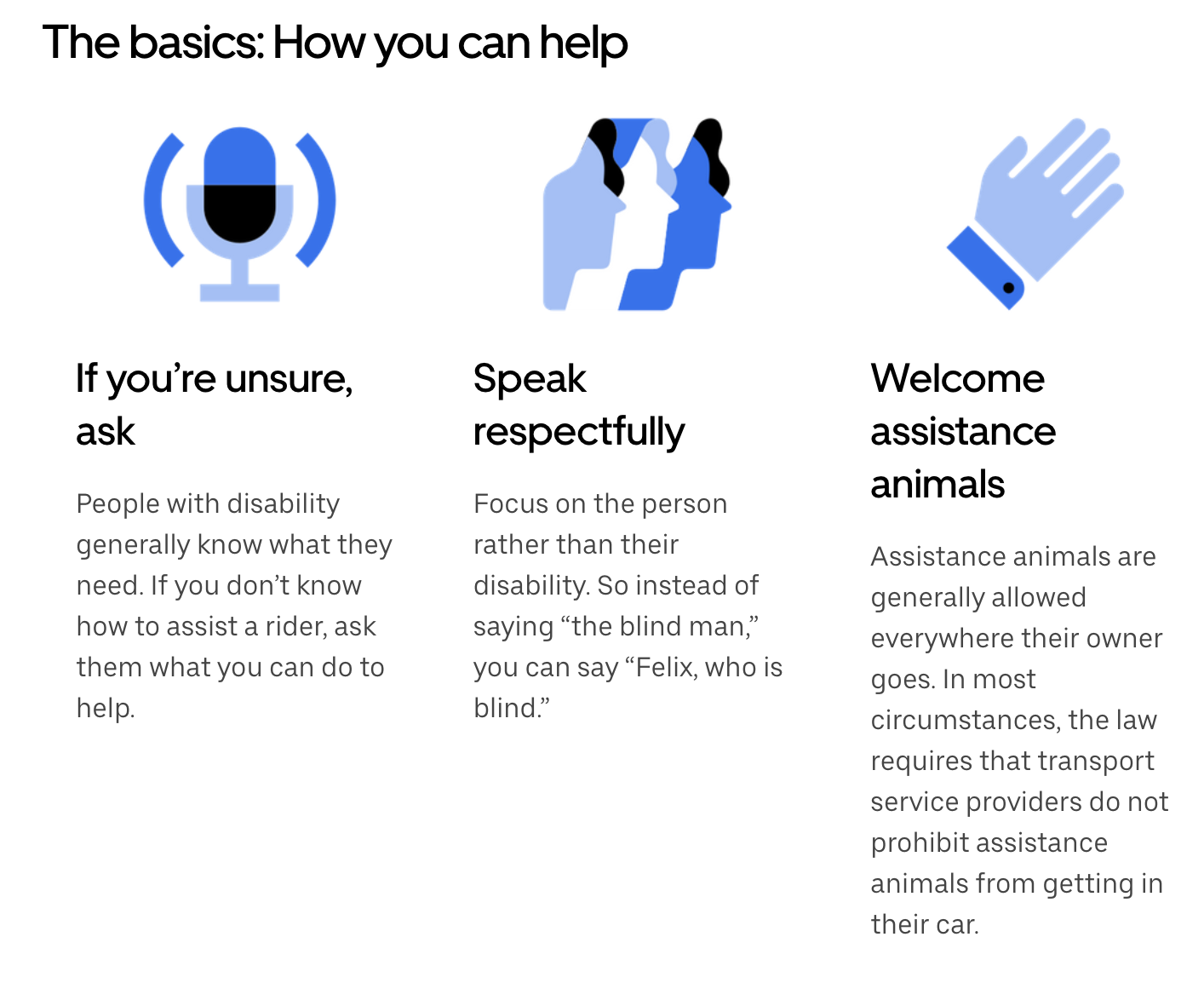 an image of Uber's advice to drivers who are assisting blind passengers