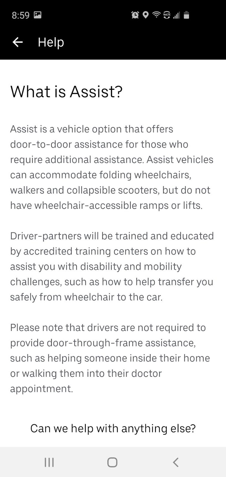 an image on how to use uber's accessibility settings: instructions on Uber Assist