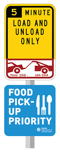 A black and yellow sign reading 5 minute load and unload over a red and white sign of a car being towed. Bottom sign is blue with white text reading food pick up priority with a white icon of a knife, fork, and spoon.